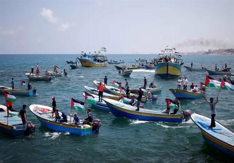 فلسطین|آغاز ششمین راهپیمایی دریایی به سمت مرزهای نوار غزه؛ تیراندازی اشغالگران به سمت قایقها