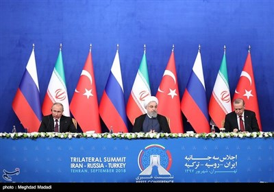 Presidents of Iran, Russia, Turkey Attend Press Conference after Tehran Summit