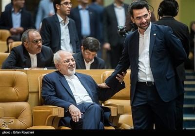 محمدجواد آذری جهرمی وزیر ارتباطات و محمد جواد ظریف، وزیر امور خارجه در چهاردهمین جشنواره شهید رجایی