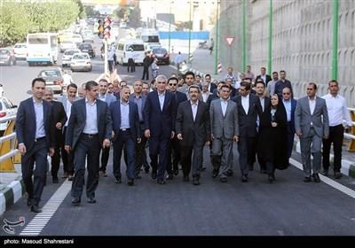 محمد علی افشانی شهردار تهران در آیین بهره برداری از تونل آرش-اسفندیار