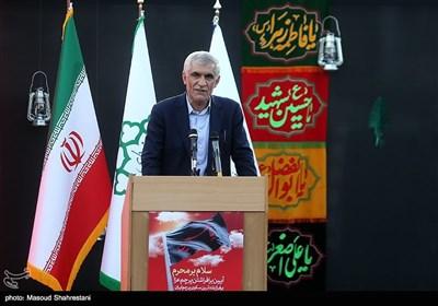 محمد علی افشانی شهردار تهران در آیین اهتزاز پرچم 1000 متری یاحسین(ع) برفراز مرتفع ترین برج پرچم خاورمیانه