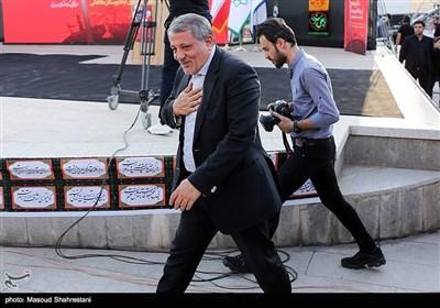 محسن هاشمی در آیین اهتزاز پرچم 1000 متری یاحسین(ع) برفراز مرتفع ترین برج پرچم خاورمیانه