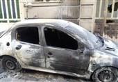 آتش گرفتن پژو 206 و موتورسیکلت 7 نفر را گرفتار کرد + تصاویر