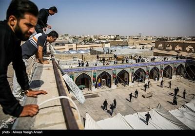 آیین سنتی برافراشته شدن خیمه حسینیه امامزاده هارونیه - اصفهان