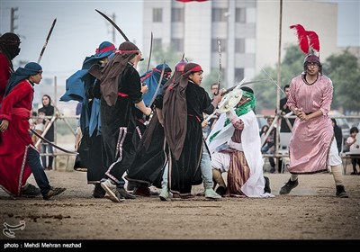 مراسم تعزیه خوانی وهب و شاهزاده عبدالله در روز ششم محرم - جم