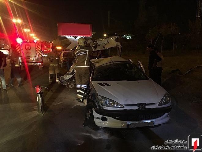 تصادف زنجیرهای در اتوبان تهران کرج + تصاویر