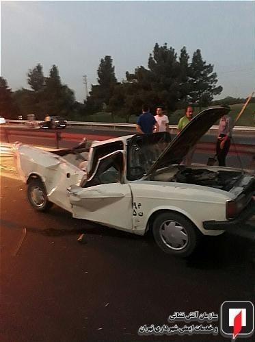 پرت شدن مرگبار راننده وانت به بیرون از خودرو + تصاویر