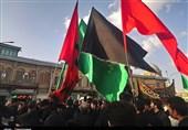 استقبال از پرچم گنبد نورانی اباعبدالله(ع) و قمر منیر بنی هاشم(ع) در همدان+تصاویر