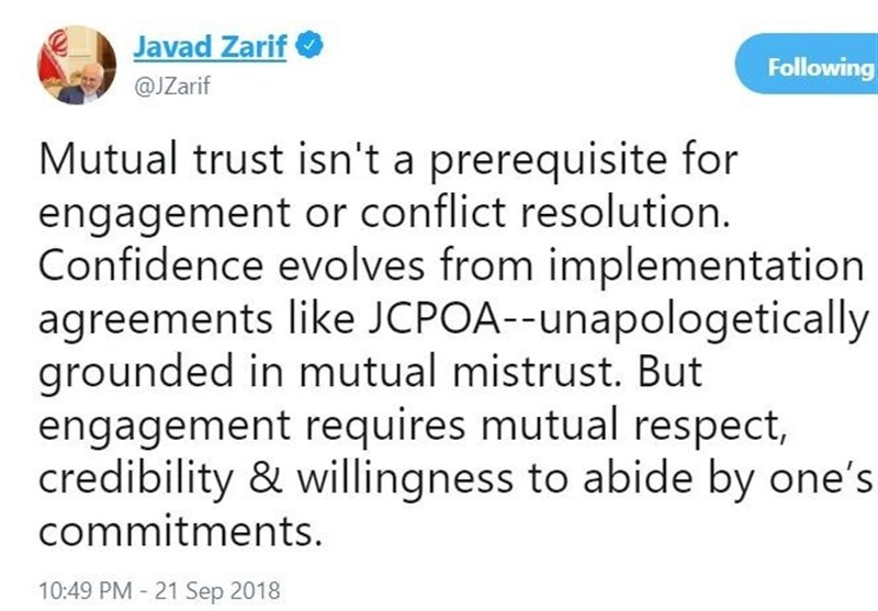 Engagement Requires Mutual Respect: Iran's Zarif