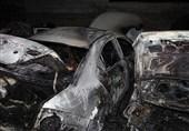آتش گرفتن 7 خودرو در پارکینگ روباز بلوار ارتش + تصاویر