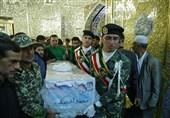 پیکر شهید حادثه تروریستی اهواز در حرم رضوی تشییع شد