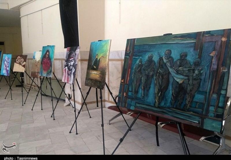 نمایشگاه نقاشی و نقاشیخط با موضوع هفته دفاع مقدس در زاهدان به روایت تصویر
