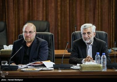 سعید جلیلی و محمدباقر قالیباف در جلسه مجمع تشخیص مصلحت نظام