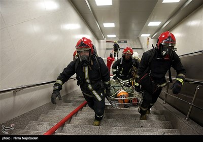 مانور حادثه در مترو -مشهد