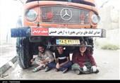 اربعین حسینی  تلاشها برای برپایی موکب اصحاب خراسانی زیر بارش باران کربلا+تصاویر