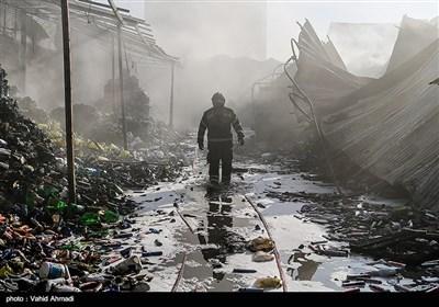 آتشسوزی گسترده در انبار کالا میدان هرندی