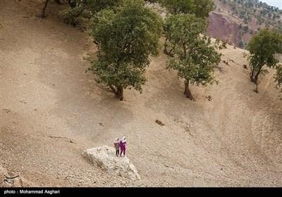 روستای پزعلیا-بخش ذلقی غربی - شهرستان الیگودرز-استان لرستان-زهرا و عاطفه حسنی برای رفتن به مدرسه بر روی سنگ ایستاده و منتطردوستشان هستند.