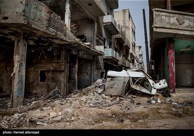 خانه ها و ساختمان های ویران شده شهر حمص سوریه بر اثر جنگ داعش با ارتش سوریه