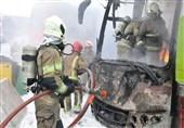 آتش گرفتن اتوبوس در آزادراه تهران ـ کرج
