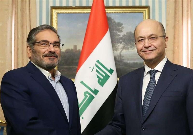 شمخانی: آمریکا نمیتواند روابط ایران و عراق را بر هم زند/برهم صالح: نمیگذاریم از عراق به منافع ایران لطمه بزنند