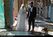 خوزستان| آغاز متفاوت زندگی زوج جوان در کنار مزار شهید ولایتیفر +تصاویر