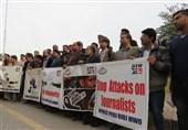 اسلام آباد: فلسطینی صحافیوں پر اسرائیلی تشدد کے خلاف احتجاجی مظاہرہ + تصاویر