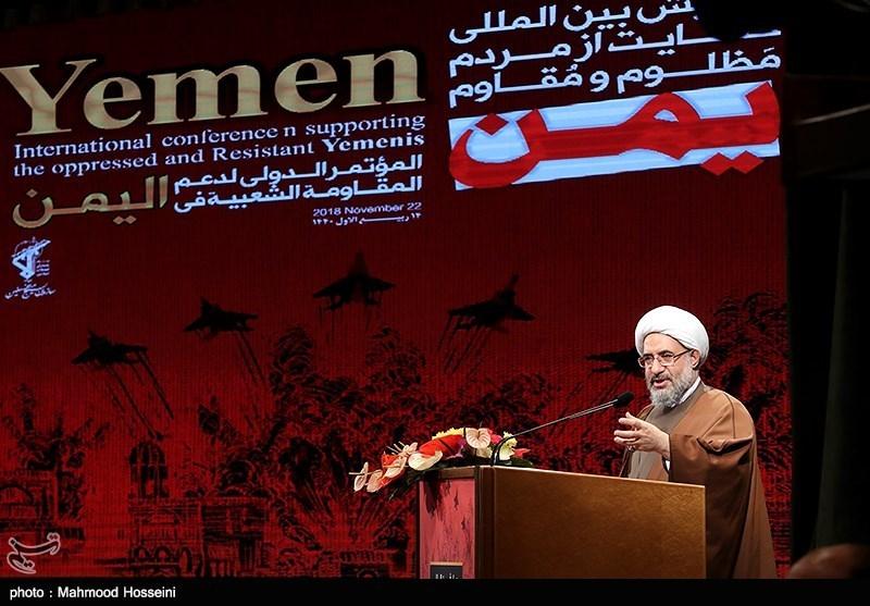 سخنرانی آیت الله اراکی دبیرکل مجمع جهانی تقریب مذاهب اسلامی در همایش حمایت از مردم مظلوم یمن