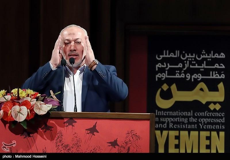 ناصر ابوشریف نماینده جنبش جهاد اسلامی فلسطین در همایش حمایت از مردم مظلوم یمن