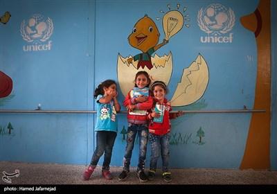 کودکان مدرسه دوره ابتدایی منطقه حسیاء در کشور سوریه