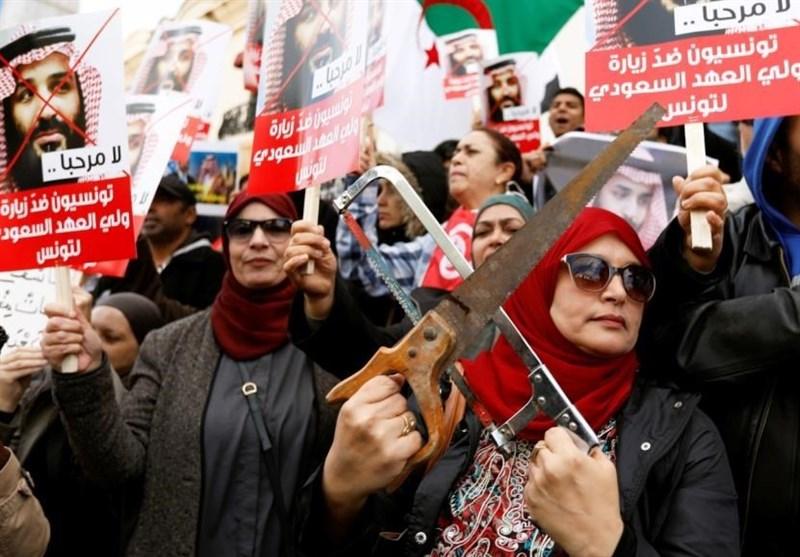 ورود بنسلمان به تونس در سایه اعتراضات گسترده مردم این کشور