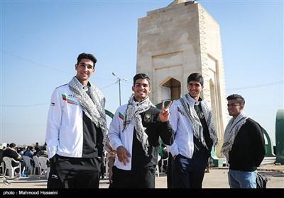 اعضای تیم ملی تکواندو در اردوی راهیان نور کاروان فرهنگی، ورزشی مدال آوران کشور