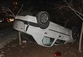 تصادف زنجیرهای 5 خودرو در بزرگراه حکیم + تصاویر