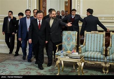 ورود چن جو نایب رئیس کنگره ملی چین به محل دیدار با علی لاریجانی رئیس مجلس شورای اسلامی