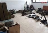 کشف انبارهای سلاح و داروی بر جا مانده از تروریستها در حومه درعا+ تصاویر