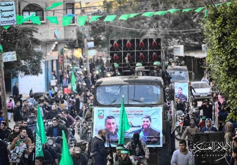 عرض عسکری مهیب لکتائب القسام فی جنوب قطاع غزة