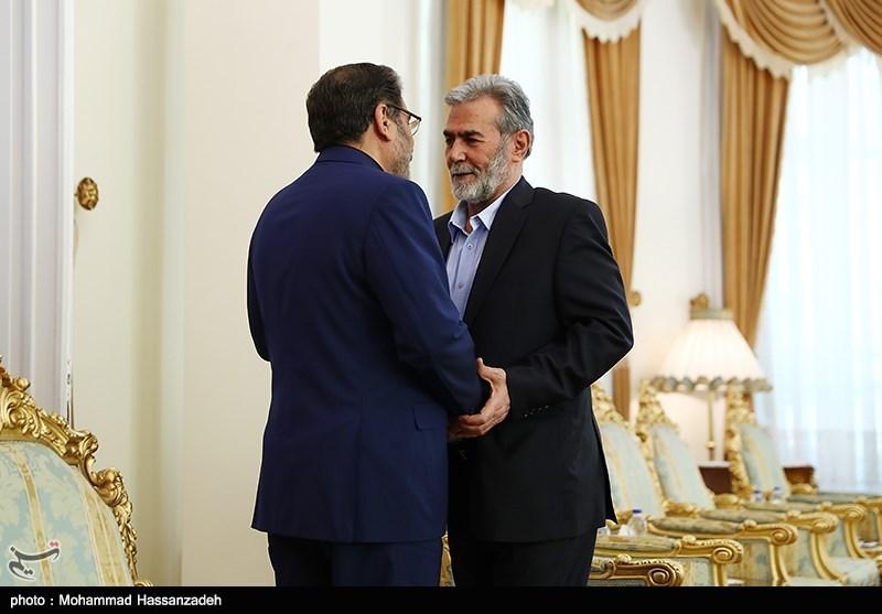 دیدار زیاد النخاله دبیر کل جنبش جهاد اسلامی فلسطین با علی شمخانی دبیر شورای عالی امنیت ملی