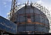 بازدید خبرنگاران از روند ساخت گنبد امام حسین(ع) در کرمان به روایت تصویر