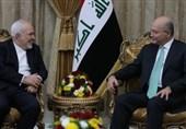 جزئیات مذاکرات ظریف و برهم صالح / تاکید بر لزوم حل تمام مشکلات منطقه از راه سیاسی