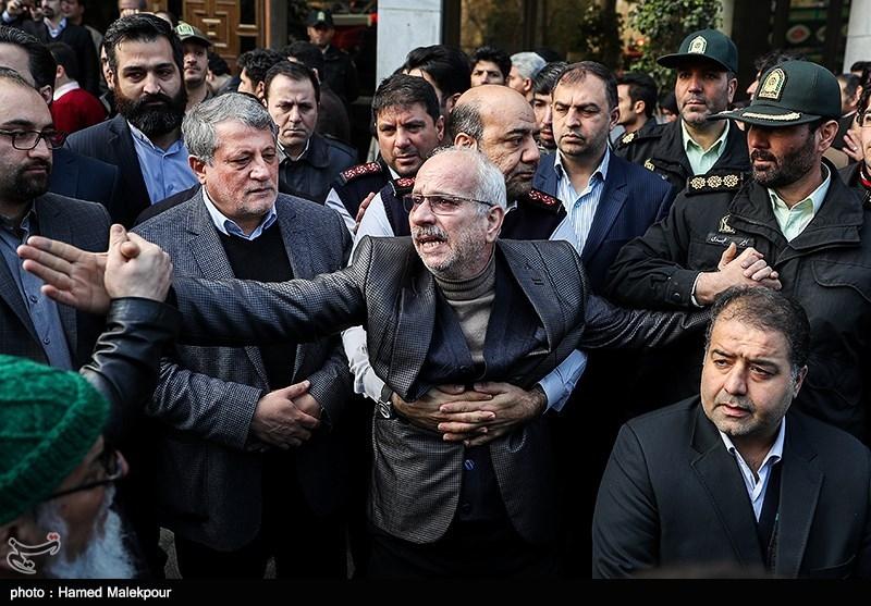 پدر آتشنشان شهید سیداحسان جامعی و محسن هاشمی رئیس شورای شهر تهران