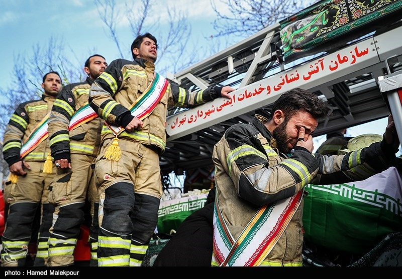 مراسم تشییع پیکر آتشنشان شهید سیداحسان جامعی