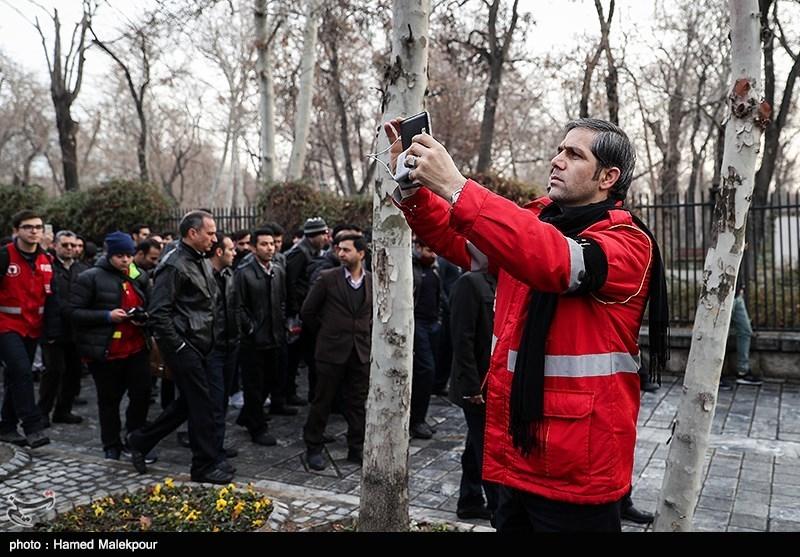 سیدجلال ملکی سخنگوی سازمان آتشنشانی در مراسم تشییع پیکر آتشنشان شهید سیداحسان جامعی