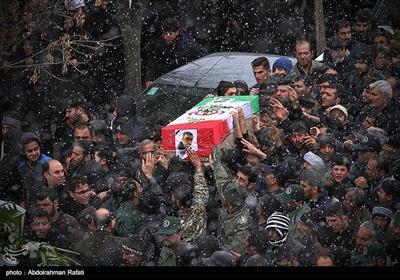 مراسم تشییع پیکر شهدای حادثه سقوط هواپیمای بوئینگ ۷۰۷ در همدان