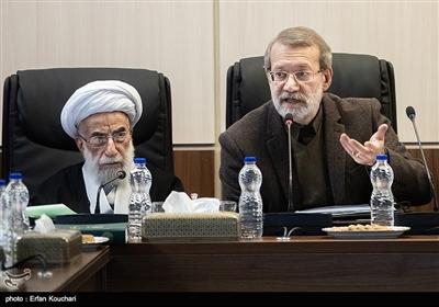 علی لاریجانی رئیس مجلس و آیت الله احمد جنتی در جلسه مجمع تشخیص مصلحت نظام