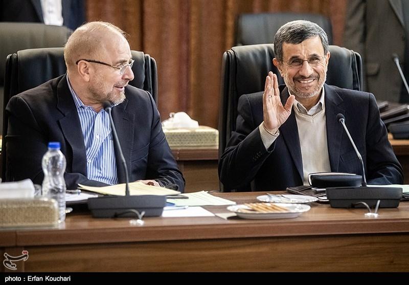 محمود احمدی نژاد و محمدباقر قالیباف در جلسه مجمع تشخیص مصلحت نظام