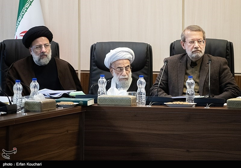 علی لاریجانی , آیت الله احمد جنتی و حجت الاسلام ابراهیم رئیسی در جلسه مجمع تشخیص مصلحت نظام