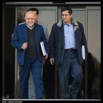 عبدالناصر همتی رئیس کل بانک مرکزی ، بیژن نامدار زنگنه وزیر نفت