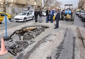 اصفهان  فرونشست زمین در خیابان شمس آبادی درپی ترکیدن لوله
