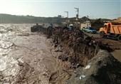 دیوار ساحلی پلدختر فرو ریخت