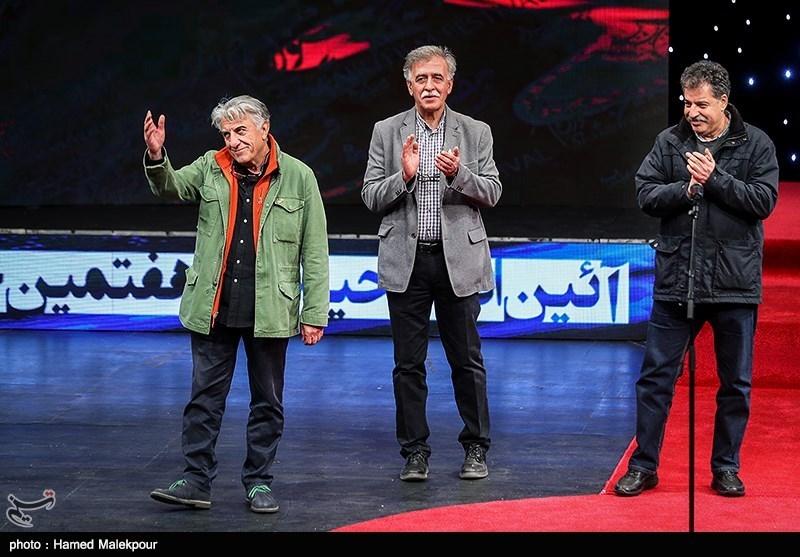 علیرضا رئیسیان، همایون اسعدیان و رضا کیانیان در مراسم افتتاحیه سیوهفتمین جشنواره فیلم فجر