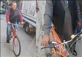 هنر کامیون آرائی روی دوچرخه سفیر آلمان در پاکستان +عکس